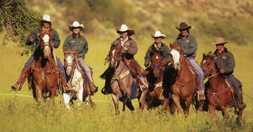 Riders at the Drowsy Water Ranch in Colorado