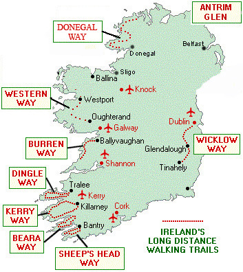 Guided and self guided walking tours in Ireland