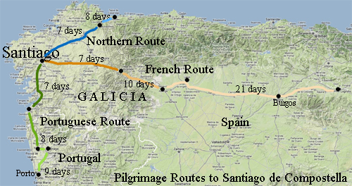 Map Of Northern Spain And Portugal.St James Way Pilgrimage Ride Galicia Spain