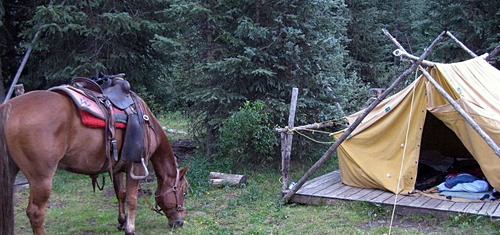 Each c& is set up with A-frame canvas tents on raised wooden platforms large cozy kitchen tents for meals and socializing rail corrals for the horses ... & Banff - Wilderness Tenting Ride - on horseback with Hidden Trails ...