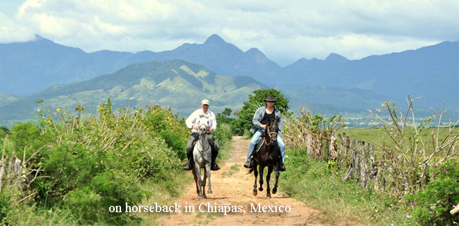 on horseback in soutehr Mexico - Chiapas.